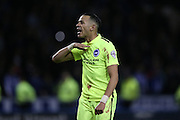 Liam Rosenior urges the Brighton fans to keep their belief at the final whistle of the Sky Bet Championship Play Off First Leg match between Sheffield Wednesday and Brighton and Hove Albion at Hillsborough, Sheffield, England on 13 May 2016.