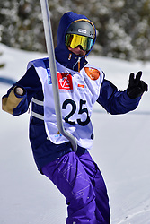 Snowboarder Cross Action, MONTAGGIONI Maxime, FRA at the 2016 IPC Snowboard Europa Cup Finals and World Cup