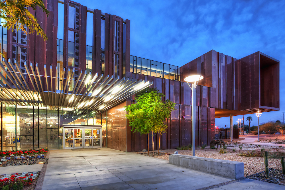 South Mountain Community College Library at twilight.