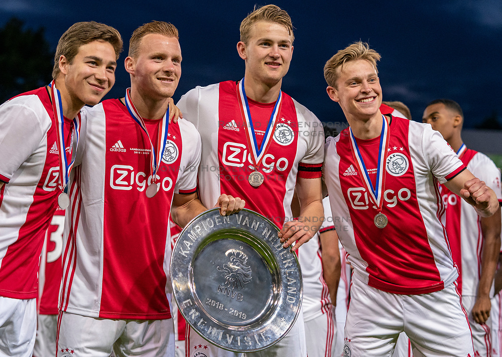 15-05-2019 NED: De Graafschap - Ajax, Doetinchem<br /> Round 34 / It wasn't really exciting anymore, but after the match against De Graafschap (1-4) it is official: Ajax is champion of the Netherlands / Carel Eiting #15 of Ajax, Dani de Wit #30 of Ajax, Matthijs de Ligt #4 of Ajax, Daley Blind #17 of Ajax
