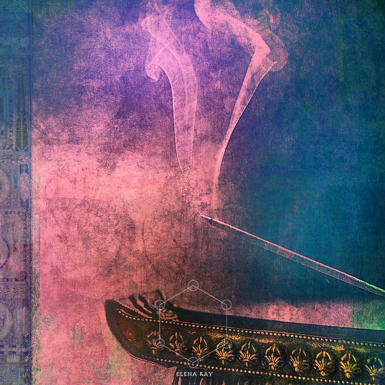 Photo based illustration of incense burning.