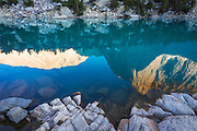 Temple Crag reflected in Big Pine Lake #3, John Muir Wilderness, Sierra Nevada Mountains, California USA