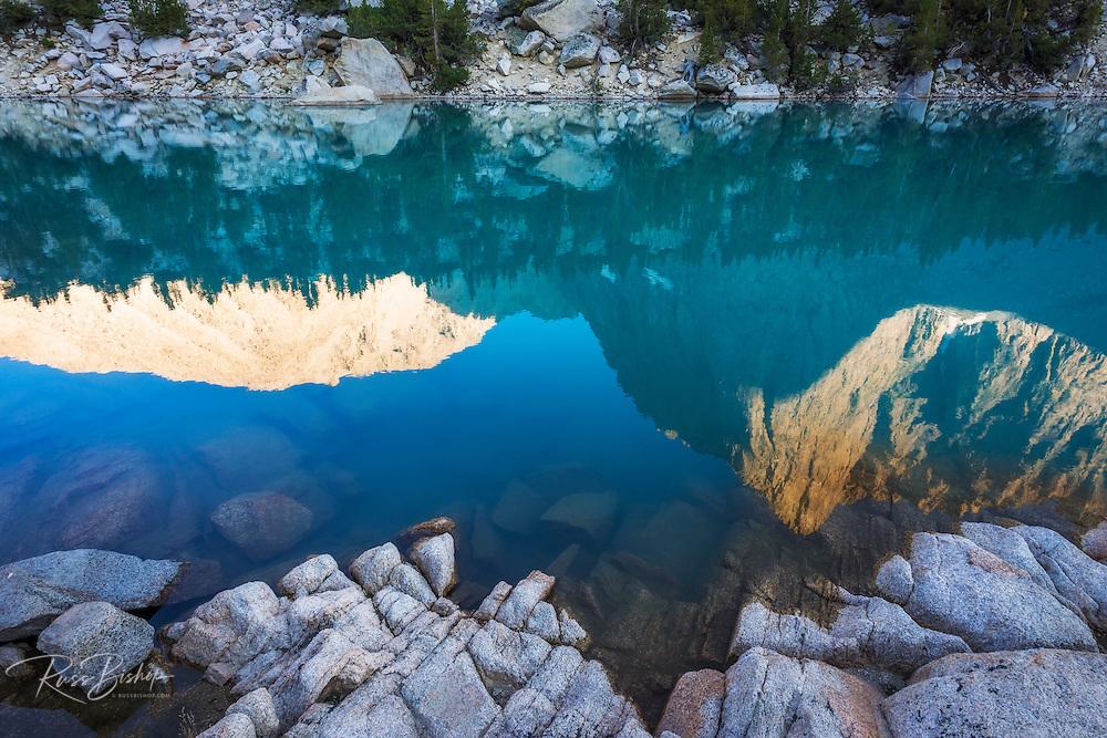 Temple Crag reflected in Big Pine Lake #3, John Muir Wilderness, Sierra Nevada Mountains, California USA