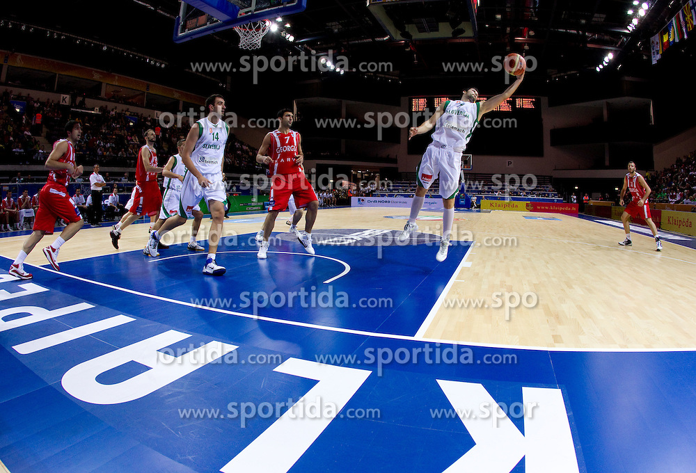 Saso Ozbolt of Slovenia during basketball match between National teams of Slovenia and Georgia in Group D of Preliminary Round of Eurobasket Lithuania 2011, on September 3, 2011, in Arena Svyturio, Klaipeda, Lithuania. Slovenia defeated Georgia 87-75. (Photo by Vid Ponikvar / Sportida)