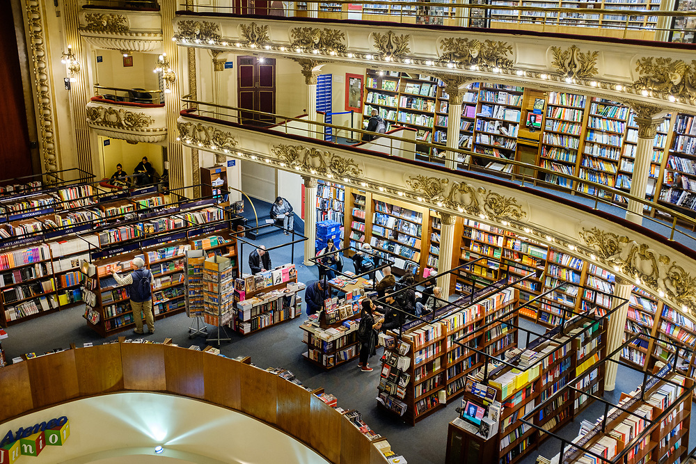 BUENOS AIRES, ARGENTINA - CIRCA AUGUST 2017: Interior of El Ateneo Grand Splendid Bookstore. The bookstore is considered one of the most beautiful bookstores of the world.