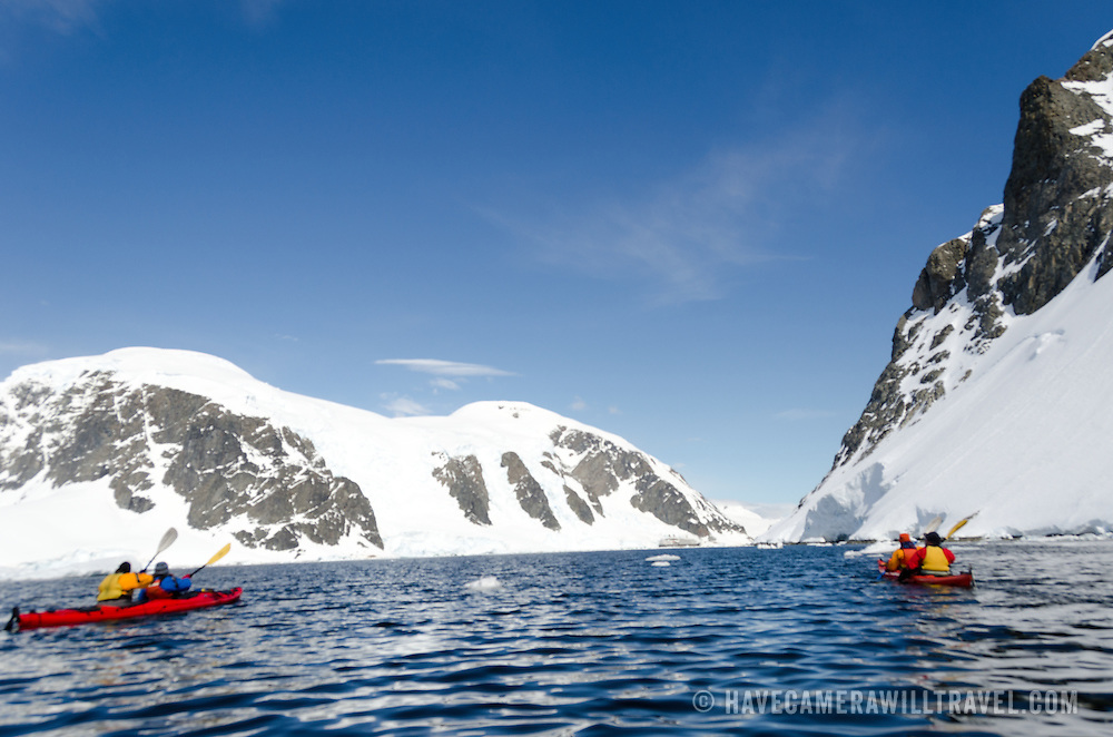 Kayakers at Cuverville Island on the Antarctic Peninsula.