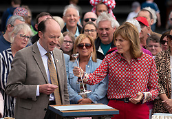 Dundee, Scotland, UK. 23 June 2019. The BBC Antiques Roadshow TV programme is aiming on location t the new V&A Museum in Dundee today. Long queues formed as members of the public arrived with their collectables to have them appraised and valued by the Antiques Roadshow experts. Select items and their owners were chosen to be filmed for the show. Pictured. Presenter Fiona Bruce  presenting Bigger, Better, Best item of the show with expert Gordon Foster