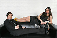 PARIS - FRANCE:  Singers Olivia Ruiz and Thomas Dutronc pose for an exclusive portrait session in Paris on March 24, 2009 (Photo by Tony Barson/BarsonImages)
