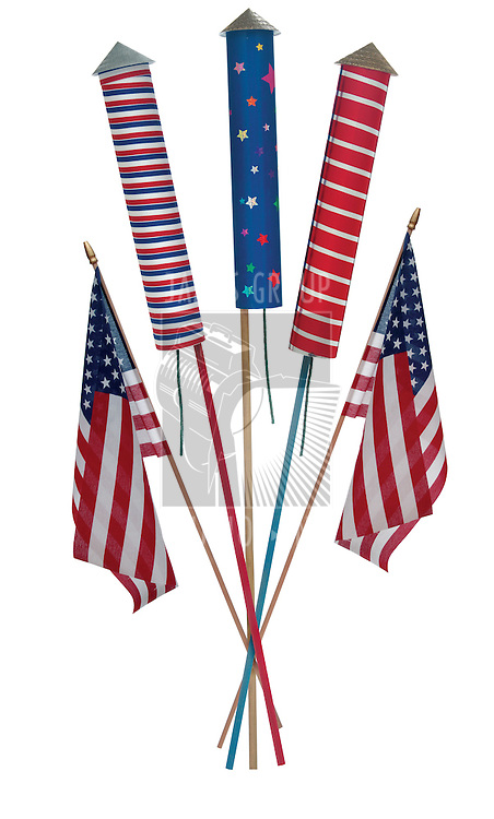 4th of July fireworks, skyrockets and US flags on white background