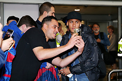 Neymar of FC Barcelona arrives at Manchester Airport  - Mandatory by-line: Matt McNulty/JMP - 31/10/2016 - FOOTBALL - Manchester Airport - Manchester, England - Manchester City v Barcelona - UEFA Champions League - Group C