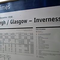 The timetable at ScotRail's Dunkeld & Birnam railway station…01.12.16<br />Picture by Graeme Hart.<br />Copyright Perthshire Picture Agency<br />Tel: 01738 623350  Mobile: 07990 594431