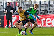 ALKMAAR - 15-02-2017, AZ - Olympique Lyon, AFAS Stadion, training, AZ speler Muamer Tankovic, AZ speler Jonas Svensson