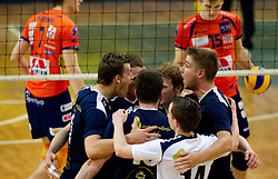 Players of Kropa during volleyball match between ACH Volley Bled and UKO Kropa at final of Slovenian National Championships 2011, on April 27, 2011 in Arena SGTS Radovljica, Slovenia. ACH Volley defeated Kropa 3-0 and became Slovenian National Champion 2011. (Photo By Vid Ponikvar / Sportida.com)