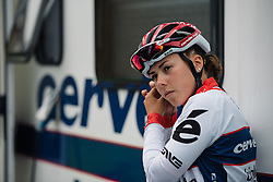 Lisa Klein (Cervélo Bigla) checks her race radioat Aviva Women's Tour 2016 - Stage 2. A 140.8 km road race from Atherstone to Stratford upon Avon, UK on June 16th 2016.