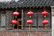 Traditional home and lanterns along Shantang canal in Suzhou, China.