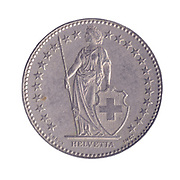 silver Two Swiss Frank coin on white background