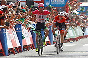 Arrival sprint, Simon Clarke (AUS - EF Education First - Drapac), Bauke Mollema (NED - Trek - Segafredo), Alessandro De Marchi (ITA - BMC) during the UCI World Tour, Tour of Spain (Vuelta) 2018, Stage 5, Granada - Roquetas de Mar 188,7 km in Spain, on August 29th, 2018 - Photo Luca Bettini / BettiniPhoto / ProSportsImages / DPPI