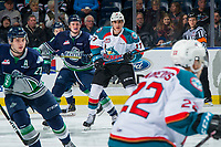KELOWNA, CANADA - JANUARY 30: Alex Swetlikoff #17 of the Kelowna Rockets is back checked by Jake Lee #24 of the Seattle Thunderbirds  on January 30, 2019 at Prospera Place in Kelowna, British Columbia, Canada.  (Photo by Marissa Baecker/Shoot the Breeze)