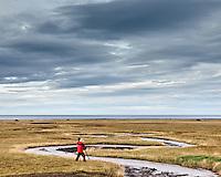A man photographing by a small stream on Snæfellsnes Peninsula, Iceland. Cloudy skies. Ljósmyndari við læk á Snæfellsnesi. Þungbúinn himinn.