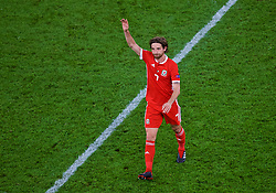 CARDIFF, WALES - Thursday, September 6, 2018: Wales' Joe Allen waves to the supporters after the UEFA Nations League Group Stage League B Group 4 match between Wales and Republic of Ireland at the Cardiff City Stadium. Wales won 4-1. (Pic by Laura Malkin/Propaganda)