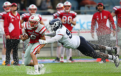 04.06.2014, UPC Arena, Graz, AUT, American Football Europameisterschaft 2014, Gruppe B, Frankreich (FRA) vs Oesterreich (AUT), im Bild Laurinho Walch, (Team Austria, WR, #6) und Christian  N Zedieu , (Team France, DL , #93) // during the American Football European Championship 2014 group B game between France vs Austria at the UPC Arena, Graz, Austria on 2014/06/04. EXPA Pictures © 2014, PhotoCredit: EXPA/ Thomas Haumer
