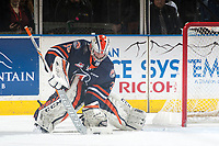 KELOWNA, CANADA - MARCH 24: Connor Ingram #39 of the Kamloops Blazers makes a first period save against the Kelowna Rockets on March 24, 2017 at Prospera Place in Kelowna, British Columbia, Canada.  (Photo by Marissa Baecker/Shoot the Breeze)  *** Local Caption ***