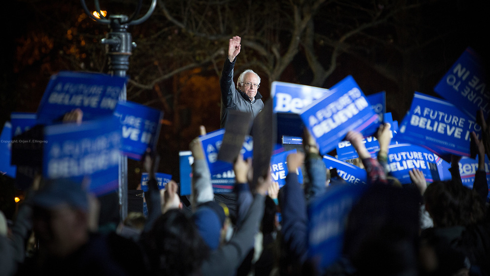 Presidential candidate Senator Bernie Sanders  (D-Vt) speaks at a rally in the Washington Square Park in New York.