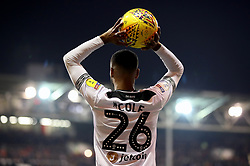 Derby County's Ashley Cole prepares to take a throw in during the Sky Bet Championship match at The City Ground, Nottingham.