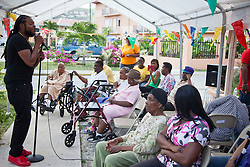 Pressure Buss Pipe performs for the seniors at Lucinda Milling Home for the Aged.  Mini Carnival at Lucinda Millin Home for the Aged.  St. Thomas, USVI.  11 April 2015.  © Aisha-Zakiya Boyd