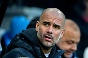 Manchester City manager Pep Guardiola during the Premier League match between Newcastle United and Manchester City at St. James's Park, Newcastle, England on 30 November 2019.