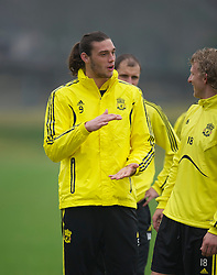 LIVERPOOL, ENGLAND, Wednesday, March 16, 2011: Liverpool's Andy Carroll and Dirk Kuyt during a training session at the club's Melwood Training Ground ahead of the UEFA Europa League Round of 16 2nd leg match against Sporting Clube de Braga. (Photo by David Rawcliffe/Propaganda)