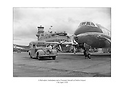 Rolls Royce Belvedere ambulance and Viscount aircraft pictured at Dublin Airport 17th April 1958<br />