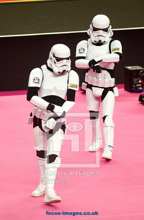 Storm troopers entertaining the crowd during the Men's/Women's iPro World Cup of Gymnastics 2017 at the O2 Arena, London, UK.<br /> Picture by Hannah Fountain/Focus Images Ltd 07814482222<br /> 08/04/2017