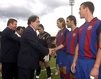 12 August 2003; John Hume, MP, MEP, meets the Barcelona team before the start of the game. Friendly game, Derry City v Barcelona, Brandywell, Derry. Picture credit; David Maher / SPORTSFILE *EDI*