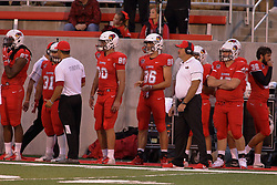 NORMAL, IL - September 08: Robert Gillum, Nicholas Muto, Jacob Carl, Stephen Halusan, Brock Spack during 107th Mid-America Classic college football game between the ISU (Illinois State University) Redbirds and the Eastern Illinois Panthers on September 08 2018 at Hancock Stadium in Normal, IL. (Photo by Alan Look)