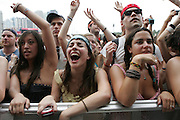 CHICAGO, IL - AUGUST 8: Fans cheer while Santigold performs at 2009 Lollapalooza Music Festival on August 8, 2009 in Grant Park, Chicago, Illinois. Photo by Bryan Rinnert/3Sight Photography