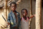 Two boys in the village of Podio, Bas-Sassandra region, Cote d'Ivoire on Friday March 2, 2012.