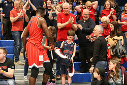 Daniel Edozie of Bristol Flyers with the fans at the end of the match - Photo mandatory by-line: Arron Gent/JMP - 28/04/2019 - BASKETBALL - Surrey Sports Park - Guildford, England - Surrey Scorchers v Bristol Flyers - British Basketball League Championship