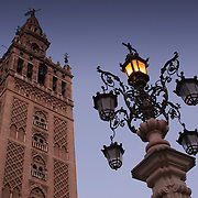 La Giralda (belltower) and street lamp, Seville, Spain (January 2007)