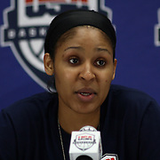 United States Guard Maya Moore (7) addresses the media after a USA Women's National Team Exhibition game between Red and White Thursday, Sept. 11, 2014 at The Bob Carpenter Sports Convocation Center in Newark, DEL