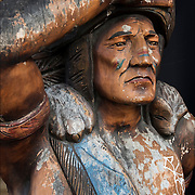 The cigar store Indian or wooden Indian is an advertisement figure, in the likeness of a Native American, used to represent tobacconists.<br />