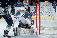 KELOWNA, CANADA - APRIL 3: Jordon Cooke #30 of the Kelowna Rockets defends the net against the Seattle Thunderbirds on April 3, 2014 during Game 1 of the second round of WHL Playoffs at Prospera Place in Kelowna, British Columbia, Canada.   (Photo by Marissa Baecker/Getty Images)  *** Local Caption *** Jordon Cooke;