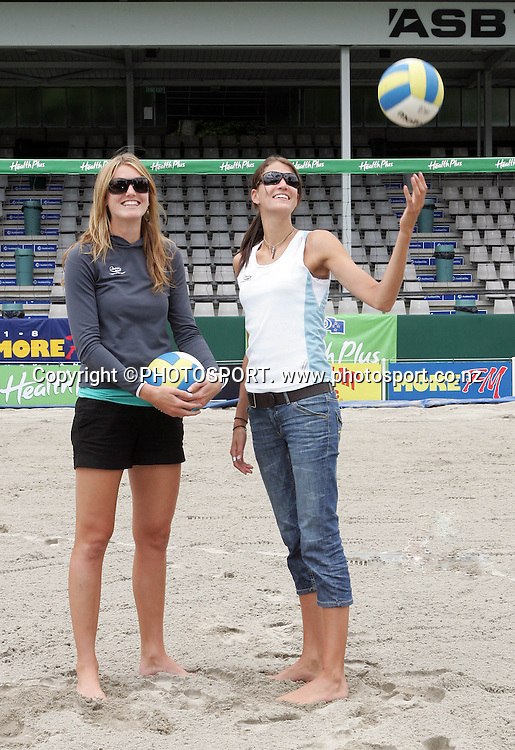 NZ's Susan Blundell and Anna Scarlett at the Beach Volley NZ Open media session held at ASB tennis centre, Auckland, on Thursday 18 January 2006. Photo: Renee McKay/PHOTOSPORT<br /><br /><br />180107