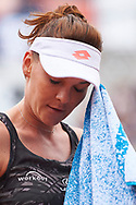 Paris, France - 2017 June 03: Agnieszka Radwanska from Poland rests during women's single match third round  during tennis Grand Slam tournament The French Open 2017 (also called Roland Garros) at Stade Roland Garros on June 03, 2017 in Paris, France.<br /> <br /> Mandatory credit:<br /> Photo by © Adam Nurkiewicz<br /> <br /> Adam Nurkiewicz declares that he has no rights to the image of people at the photographs of his authorship.<br /> <br /> Picture also available in RAW (NEF) or TIFF format on special request.<br /> <br /> Any editorial, commercial or promotional use requires written permission from the author of image.