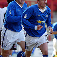 Clyde v St Johnstone...06.03.04<br />Simon Donnelly celebrates giving St Johnstone the lead with Mixu Paatelainen<br />Picture by Graeme Hart.<br />Copyright Perthshire Picture Agency<br />Tel: 01738 623350  Mobile: 07990 594431