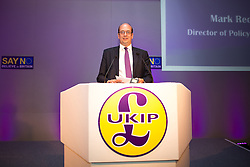 © Licensed to London News Pictures . 25/09/2015 . Doncaster , UK . MARK RECKLESS speaks at the 2015 UKIP Party Conference at Doncaster Racecourse . Photo credit : Joel Goodman/LNP