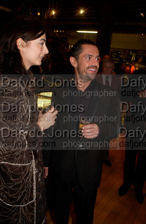 Francesca Amfiterof and Shaun Leane. Party hosted by Isabella Blow in honour of Shaun Leane to celebrate his jewelry collection. Liberty's. London. 8 December 2004. ONE TIME USE ONLY - DO NOT ARCHIVE  © Copyright Photograph by Dafydd Jones 66 Stockwell Park Rd. London SW9 0DA Tel 020 7733 0108 www.dafjones.com