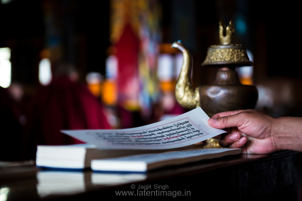 The Holy book at the Tibetan YungDrung Bon Monastery at Dolanji.