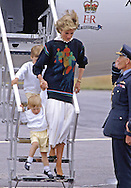 PRINCE HARRY_30 years on<br /> Diana, Princess of Wales clutches baby Prince Harry by the hand when they arrive at Aberdeen Airport on their way to Balmoral in August 18th 1986.<br /> Prince Harry celebrates his 30th birthday on the 15th of September 2014<br /> Mandatory Photo Credit: &copy;Dias/NEWSPIX INTERNATIONAL<br /> <br /> Mandatory credit photo:NEWSPIX INTERNATIONAL(Failure to credit will incur a surcharge of 100% of reproduction fees)<br /> <br /> **ALL FEES PAYABLE TO: &quot;NEWSPIX INTERNATIONAL&quot;**<br /> <br /> Newspix International, 31 Chinnery Hill, Bishop's Stortford, ENGLAND CM23 3PS<br /> Tel:+441279 324672<br /> Fax: +441279656877<br /> Mobile:  07775681153<br /> e-mail: info@newspixinternational.co.uk