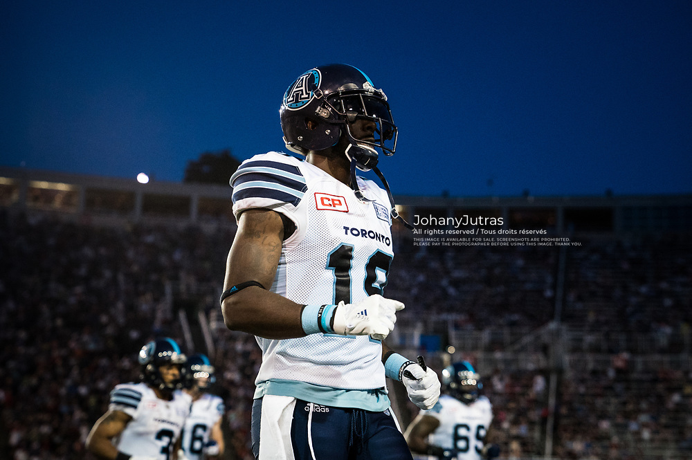 SJ Green (19) of the Toronto Argonauts during the game against the Montreal Alouettes at Percival-Molson Stadium in Montreal, QC, Friday, August 11, 2017. (Photo: Johany Jutras)